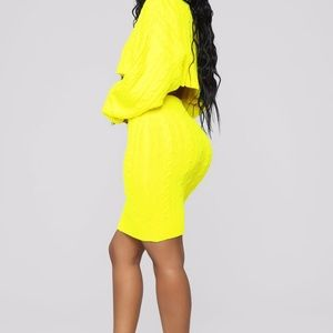 Sweater Set - Neon Yellow - M